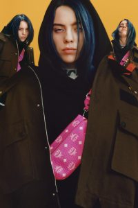 Billie Eilish wearing MCM fall/winter line