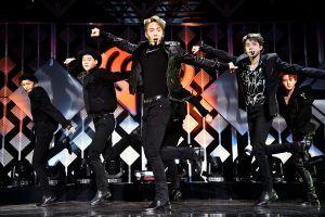 NEW YORK, NEW YORK - DECEMBER 13: (L-R) Hyungwon, Jooheon, Shownu, Minhyuk, and I.M of Monsta X perform onstage during iHeartRadio's Z100 Jingle Ball 2019 Presented By Capital One on December 13, 2019 in New York City. (Photo by Theo Wargo/Getty Images for iHeartMedia )