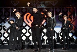 NEW YORK, NEW YORK - DECEMBER 13: (L-R) Jooheon, Kihyun, Hyungwon, Shownu, and Minhyuk of Monsta X perform onstage during iHeartRadio's Z100 Jingle Ball 2019 Presented By Capital One on December 13, 2019 in New York City. (Photo by Theo Wargo/Getty Images for iHeartMedia )