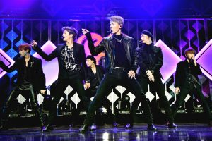 NEW YORK, NEW YORK - DECEMBER 13: (L-R) I.M, Minhyuk, Jooheon, Shownu, Hyungwon, and Kihyun of Monsta X perform onstage during iHeartRadio's Z100 Jingle Ball 2019 Presented By Capital One on December 13, 2019 in New York City. (Photo by Theo Wargo/Getty Images for iHeartMedia )