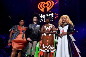 NEW YORK, NEW YORK - DECEMBER 13: Silky Nutmeg Ganache, Aquaria, Monét X Change, and Peppermint speak onstage during iHeartRadio's Z100 Jingle Ball 2019 Presented By Capital One on December 13, 2019 in New York City. (Photo by Theo Wargo/Getty Images for iHeartMedia )