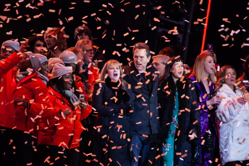 The Fisk Jubilee Singers, Stevie Nicks, and Chris Isaak singing Auld Lang Syne after midnight. Music City Midnight 2019-2020. Photo by Kindell Buchanan / StarShine Magazine
